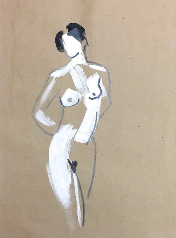 Nude painting of One minute pose 97.2 - Original painting by Gretchen Kelly