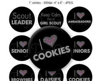 Scouts Bling Sayings Bottle Cap Images Set 1 Inch Circle 4x6 Digital I Heart Cookies Scouts Mom Leader - Instant Download - BC1165