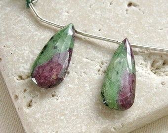 Ruby Zoisite Faceted Long Teardrop Briolette Beads 10.95 x 27mm - Matched Gemstone Pair