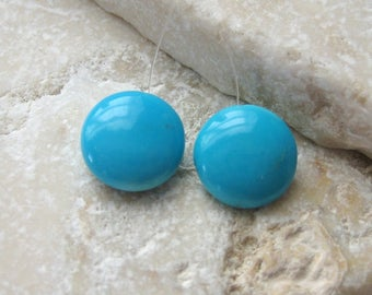 Sleeping Beauty Turquoise Polished Coin Beads 10.75mm Top Drilled - Matched Gemstone Pair