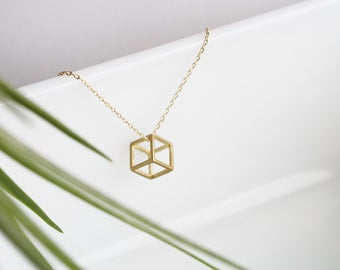 Cube 3D Geometric Charm Necklace | ATL-N-183