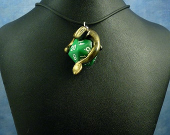 Antique Gold and Green Dicekeeper Dragon Necklace - D20 Pendant