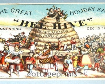 Sale Rare Antique The Great Bee Hive Holiday Sale Dec 10 1879 Trade Card Advertisement The Headquarters of Santa Claus
