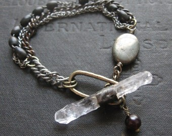 Chunky Quartz Bracelet - Statement Bracelet with Raw Quartz Pyrite and Upcycled Rosary Beads
