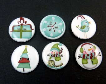 """6 Snowman and Christmas  Buttons. Handmade By Me.  Washer and Dryer Safe.  Christmas Tree, Snow Flake, Bird 3/4"""" or 20 mm Round."""