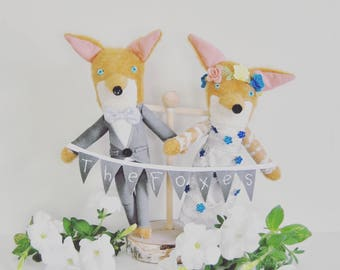 Animal Wedding Cake Topper //  Dressed in the Bride and Groom's Attire // Perfect Keepsake For a Whimsical Wedding