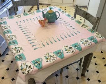 Vintage Tablecloth Mid Century Roosters on Teacups Aqua & Pink