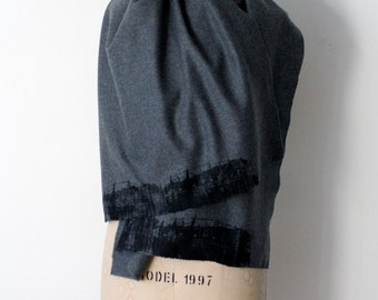 gray wool scarf, screen printed , winter accessories
