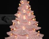 Pink Ceramic Christmas Tree 11 inch