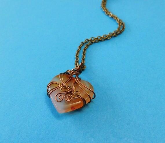 Gemstone Necklace Girlfriend Gift, Heart Necklace Girlfriend Gift, Gemstone Necklace Gift for Wife, Wire Wrapped Carnelian Heart Necklace