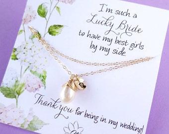 Pearl Bridesmaid necklace, be my bridesmaid, bridesmaid card, bridesmaid gifts, initial necklace, layered, maid of honor, Otis B Weddings