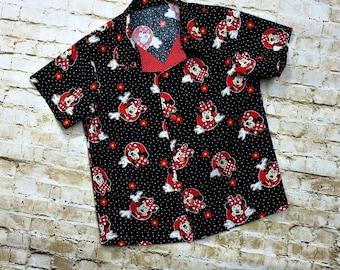 Kids Summer Shirt - Minnie Mouse Birthday - Toddler Girls Clothes - Disney - Bowling Shirt Style - Handmade Little Girls -  sz 3T to 8 yrs