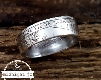 Coin Ring 90% Silver Blue Ridge Parkway National Park Your Size MR0702-TNPBR