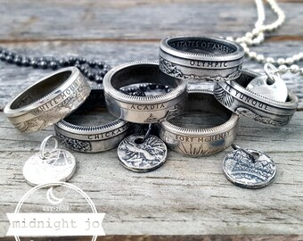 90% Silver Coin Ring & Punch Out Necklace Set National Park Coin Ring Charm Coin Necklace