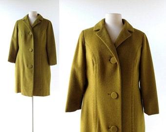 Vintage 50s Coat | Chartreuse Wool Overcoat | 1950s Coat | Medium M