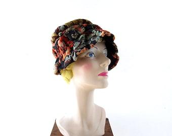 Vintage 1960s Hat | Velvet Tapestry | Bucket Hat