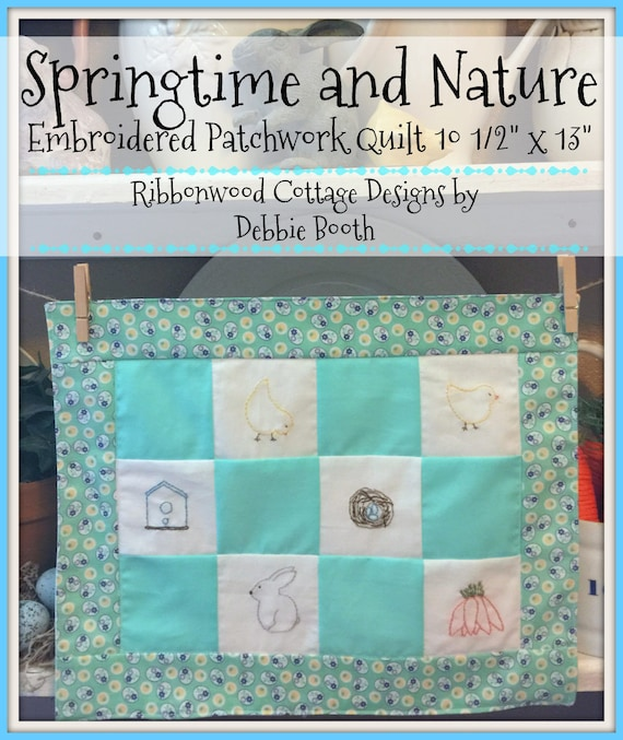 """PDF Pattern Springtime and Nature Embroidered Seasonal Patchwork Quilt - 10 1/2"""" x 13"""""""