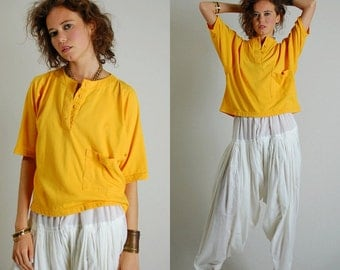Boxy Knit Top Vintage Golden Yellow Hip Hop Revival Slouchy Boxy Knit Top (s m l)