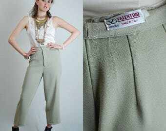Valentino Pants Vintage Sage Green VALENTINO Made in Italy Draped Minimalist Pants (29 waist)