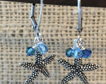 Starfish Drop Earrings with Swarovski Accents