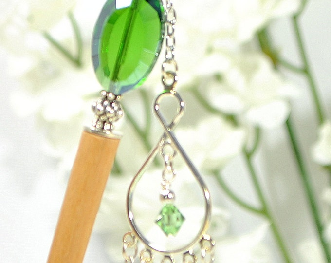 "Green Hair Stick Charm Hairstick Dangle Hair Pin Green Charm Hair Pin Green Hair Beads Handmade - ""Absolute"""