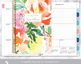 2017 planner | 2017-2018 weekly planner | student planner add monthly tabs | personalized agenda daytimer | citrus watercolor floral