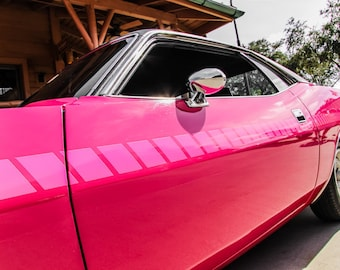 Plymouth Barracuda PINK Side View Car Photography, Automotive, Auto Dealer, Muscle, Sports Car, Mechanic, Girls Room, Garage, Dealership Art