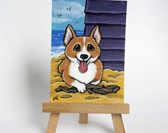 Original ACEO Corgi Beach Hut Seaside | Whimsical Dog Art Illustration by Lisa Marie Robinson