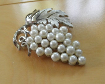Vintage Trifari Brooch.  Cluster of Pearls, Like Grapes, in Silver Setting