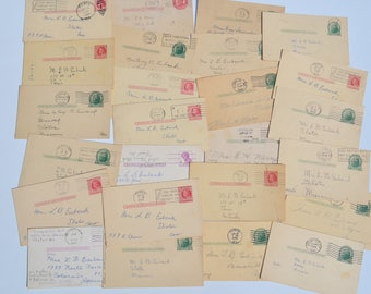 Lot of 48 Vintage Paper Ephemera, Handwritten Postcards from 1913-1981