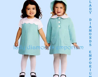 Simplicity 1207 Childs Retro Dress Matching Coat Bonnet size 1/2 1 2 3 4  1970s Style Easter Church Special Occasion Sewing Pattern Uncut FF