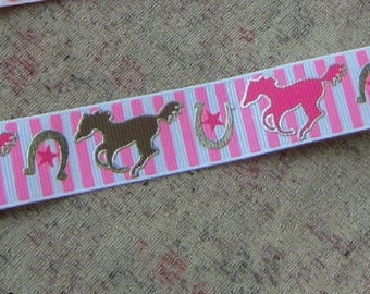 Handmade Horse Pacifier Clip Pink and Brown Horse Stripe