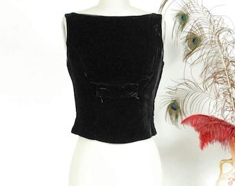 Vintage 1950s Blouse - Smart Sleeveless Black Velveteen Bombshell Blouse with Bow by Alex Colman