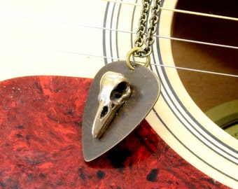 Raven Skull Guitar Pick Necklace Bronze Bird Skull on Brass Plectrum Pendant Necklace 523