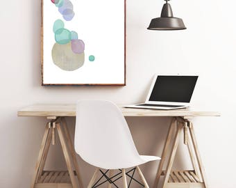 Abstract Art Print, Digital Download, Printable Abstract Art, Instant Download, Bubbles, Joyful Happy Art, Floating Bubbles, Fun Art