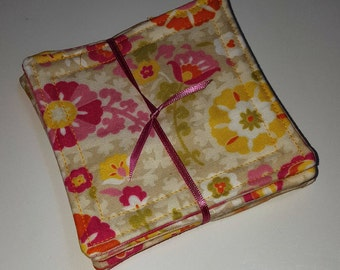 Spring Look Fabric Coaster Set - Reversible - Peach, Yellow, Pink, cotton, easy care coasters, Set of 6