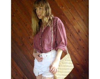 Striped Oversized Boyfriend Shirt - Vintage 60s - L
