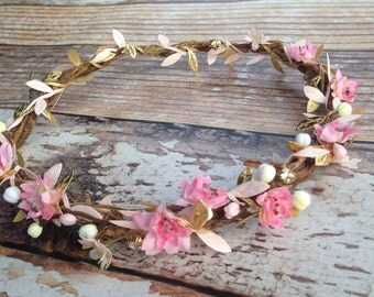Gold & Pink Goddess Flower Crown with Rhinestones...Ready to Ship