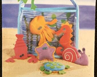 SEA CREATURE Sewing Pattern ~ Aquarium Bag & Ocean Creatures Lobster Crab Seahorse Turtle Octopus