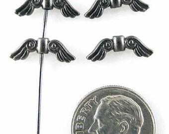TierraCast Pewter Beads-Small Black ANGEL WINGS (4)