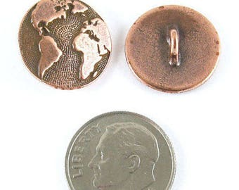 TierraCast Pewter Buttons-Copper Plated Earth Map (2 Pcs)
