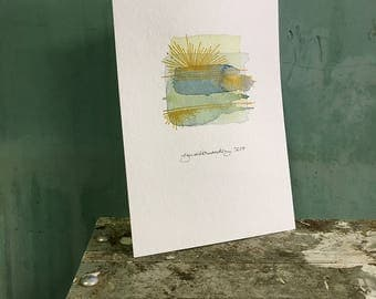America / original watercolor / one of a kind painting