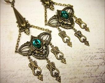 Emerald Chandelier Earrings, Renaissance Jewelry, Medieval Wedding, Handfasting, Pagan Ceremony, Tudor, Garb, Spike Earrings, Bridal, Queen