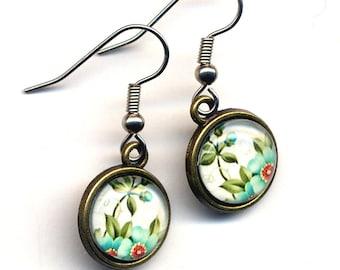Blue Blossoms Earrings, Flower Earrings, Blue Earrings, Teal  Earrings, Nature Earrings,Surgical Steel Earrings by AnnaArt72