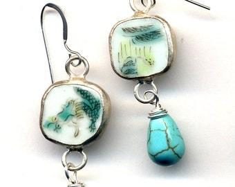 Antique Pottery Earrings, Magnesite on Sterling Silver wire, Green Teal Pottery Earrings, OOAK earrings, Handmade Jewelry by AnnaArt72