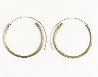Large brass hoops, tribal hoops, gold hoops