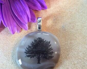 Tree of Life Fused Art Glass Pendant