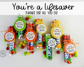 You're a Lifesaver Treat Tag / 48 / Thank you gift / Teacher Appreciation Gift / Random Acts of Kindness / Sentiments of Appreciation