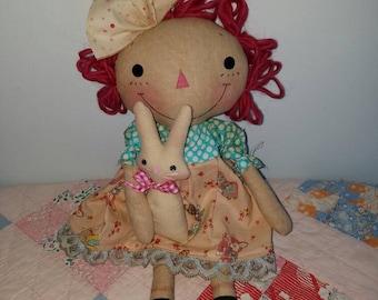 Primitive handmade Easter raggedy cloth doll, pink raggedy doll, Easter gift, Easter decor
