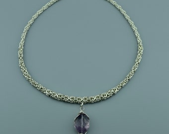 Sterling Silver Chainmail Necklace - Byzantine Weave Necklace - Amethyst Pendant Necklace - February Birthstone Necklace
